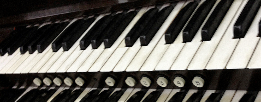 Bright white pipe organ keys
