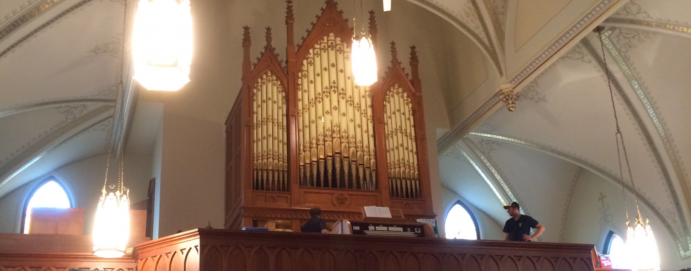 Pipe organ in a church