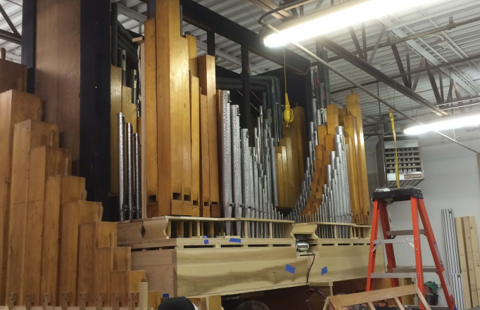 We left the casework in the church and built the new organ at our shop