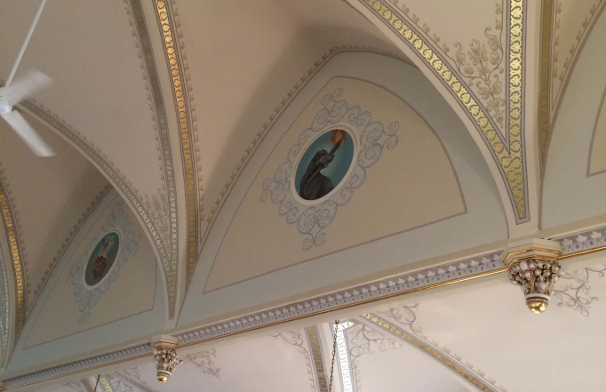 Ceiling panels have been meticulously restored at St. Mary's Ridge.