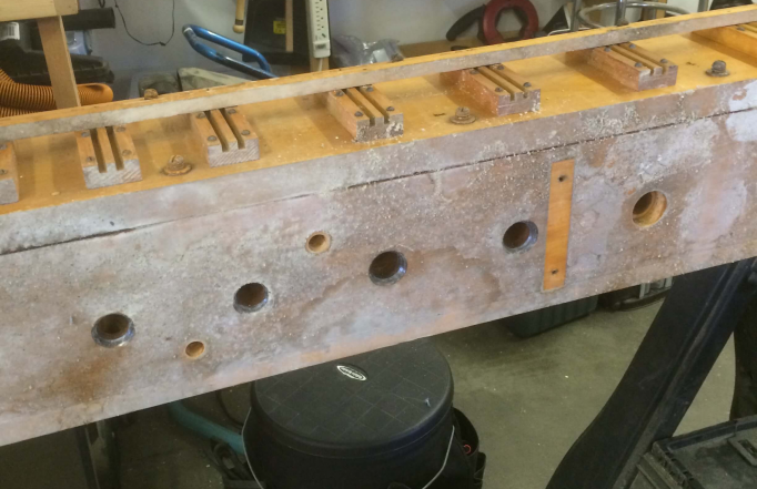 Here is one of the wind chests, covered with mold before cleaning and repair.